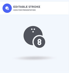 bowling ball icon filled flat sign solid vector image