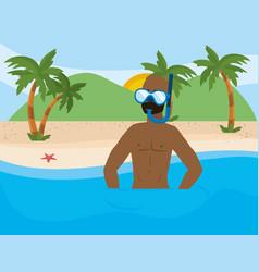 boy with summer swimwear design vector image