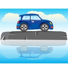 Car on stone vector