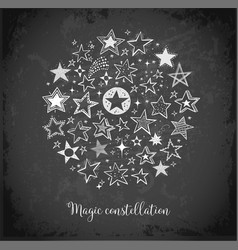 Card with doodle sketch stars in circle on vector