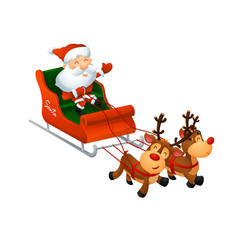cartoon cute santa on a sleigh with funny reindeer vector image