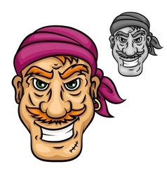 Cartoon pirate or sailor with red moustache vector