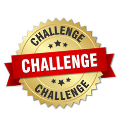 Challenge 3d gold badge with red ribbon vector