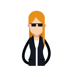 Character woman female blonde with sunglasses vector