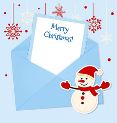 Christmas card with sticker snowman vector