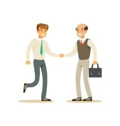 Colleagues Shaking Hands Business Office Employee vector image vector image