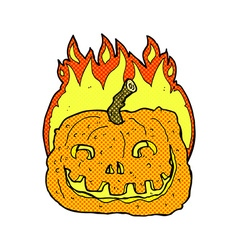 comic cartoon burning pumpkin vector image vector image