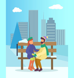couple sit on bench in winter park date two vector image