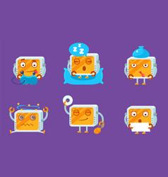 cute computer monitors characters set funny vector image