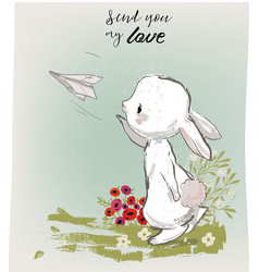 Cute hare with letter vector