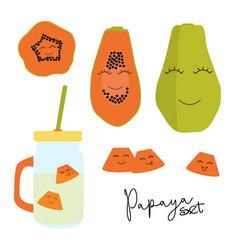 Cute papaya set image for fabrics vector
