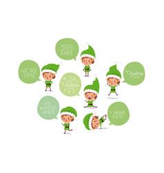 Cute santa helpers with speech bubbles vector
