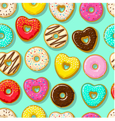 different sweet donuts background vector image