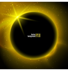 eclipse planet in space in yellow rays light vector image