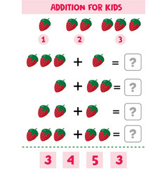 Educational math children game addition for kids vector