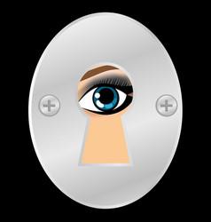 female eye looking through metallic keyhole vector image