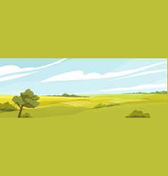 Fields panorama flat vector