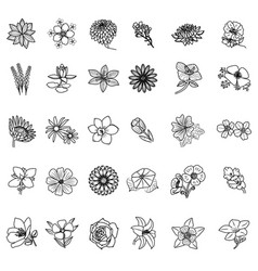 flowers set icon with outline style vector image