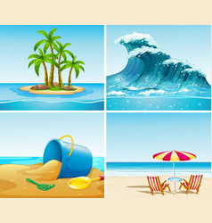 four scene of ocean at summer time vector image