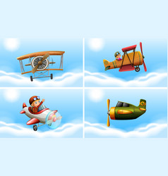 four types of airplanes vector image