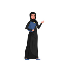 Friendly muslim business woman with folder in hand vector