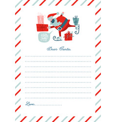 Funny letter to santa claus template vector