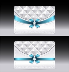 Gift cards with geometric pattern light blue bow r vector image