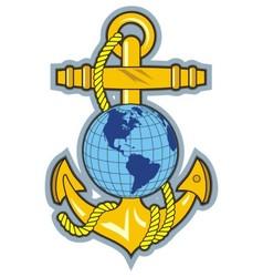 Gold anchor an globe logo vector