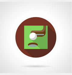 Golf putter brown flat round icon vector