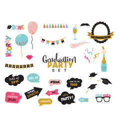 Graduation photo booth elemnts and party props vector