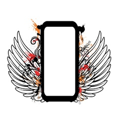 Grunge floral frame with wings vector