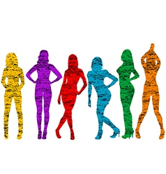 Grunge naked women silhouettes vector image