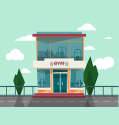 Gym store facade front view vector