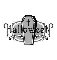 halloween night vintage style emblem vector image