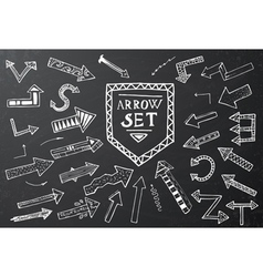 Hand drawn arrow icons set on black chalk board vector