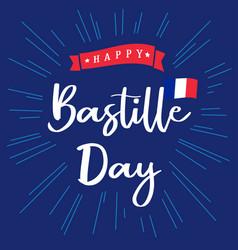 Happy bastille day france lettering blue banner vector