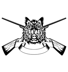 Head wild boar and crossed gun vector