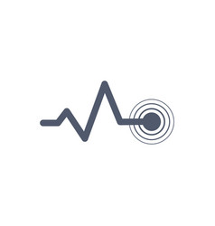Heart beat monitor pulse line art with circles vector