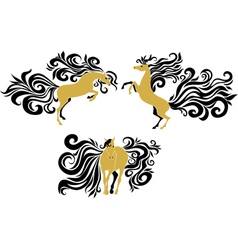 Horses with beautiful mane and tail vector