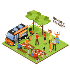isometric bbq party vector image