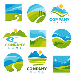 Landscape logotypes set with space for company vector