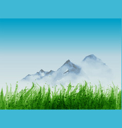 landscape with green grass and distant mountains vector image