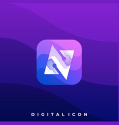letter n digital media icon application template vector image