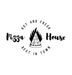 Logo restaurant pizzeria form of piece of pizza vector