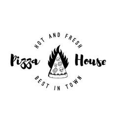 Logo restaurant pizzeria form piece pizza vector