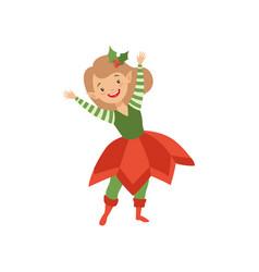 Lovely happy girl in elf costume little santa vector