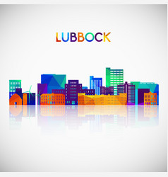 lubbock skyline silhouette in colorful geometric vector image