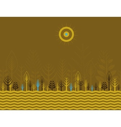 Many trees on the brown background vector image vector image