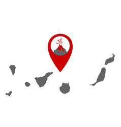Map canary islands with volcano locator vector