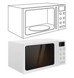 Microwave oven outline drawing and 3d vector